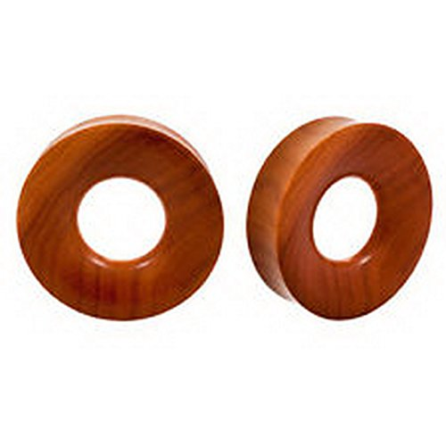 Price comparison product image Jacob AleX Piercing #105943 PAIR ORGANIC Light Sawo Wood Double Flared Ear Hollow Flesh Tunnels Inlay Plugs 1 5/8 inch 42mm