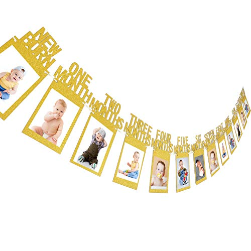 Jovitec Newborn to 12 Month Baby Photo Banner 1st Birthday Bunting Garland First Birthday Party Decor, Great Baby Shower (Gold) -