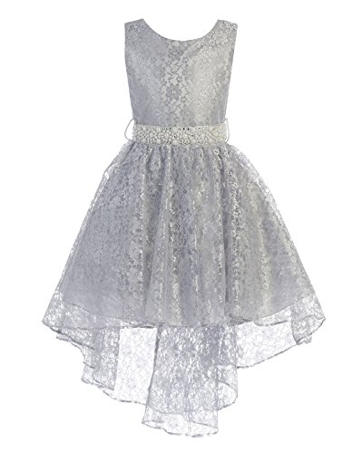 High Low Lace Dress Rhinestones Belt Pageant Flower Girl Dress Silver Size ()