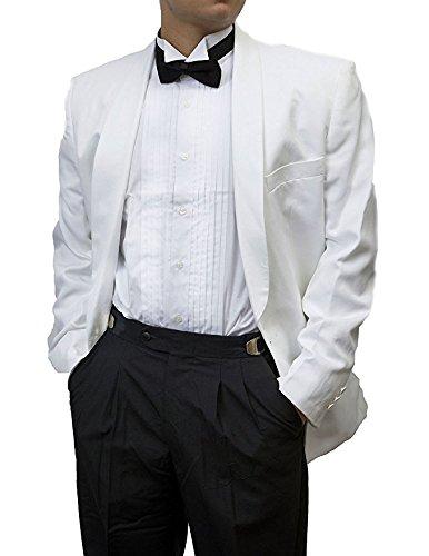 Mens Tuxedo Pants - Broadway Tuxmakers Mens 100% Wool Adjustable Black Tuxedo Pants with Satin Stripe (46-47-48R)