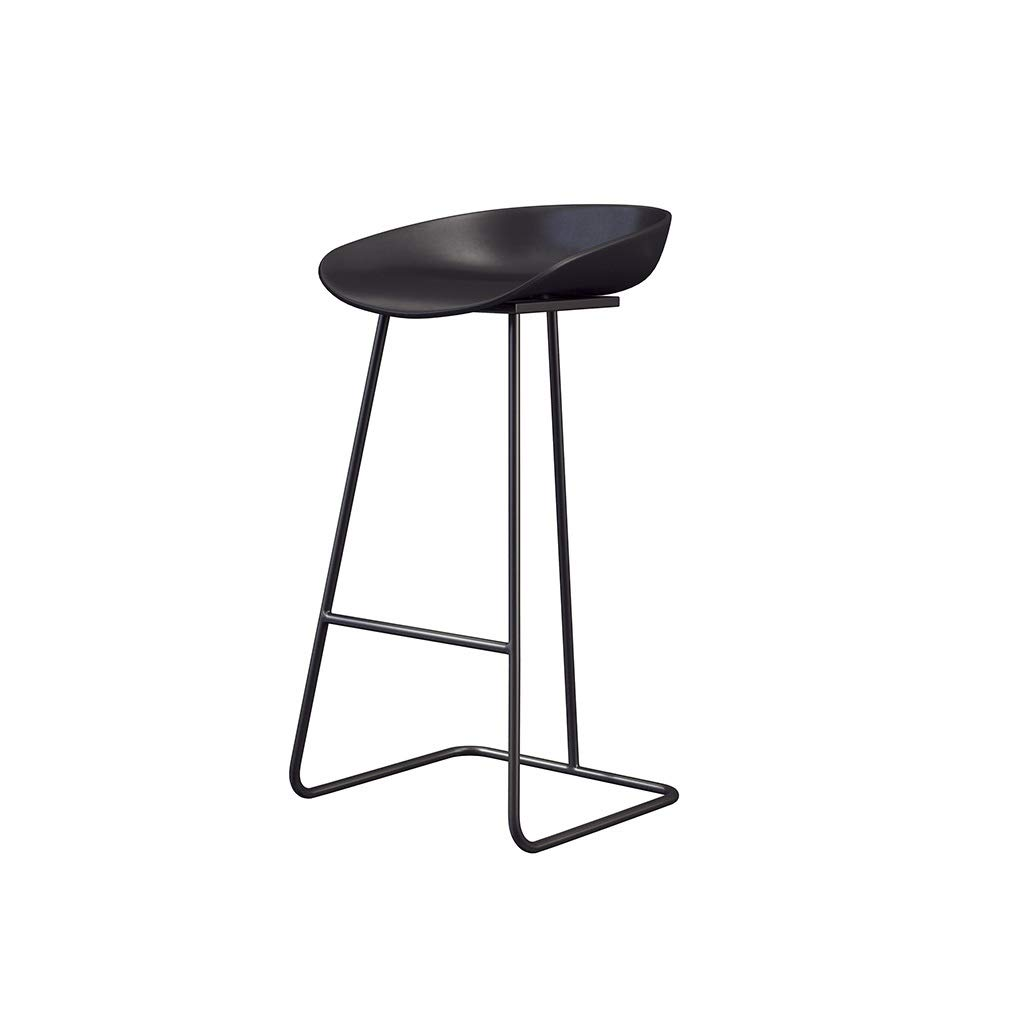 Black Bar Stool Cone Nordic Simple Kitchen Dining Coffee Restaurant Metal Bar Chair Pub Casual Household Barstools High Stool (color   Black)
