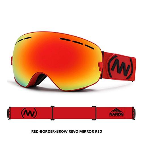 SE7VEN Lunettes De Ski Professionnel,Double Couche Anti-buée Protection Uv Ultra Wide-ange Lentille Sphérique Unisexe Otg Snowboard Goggle H