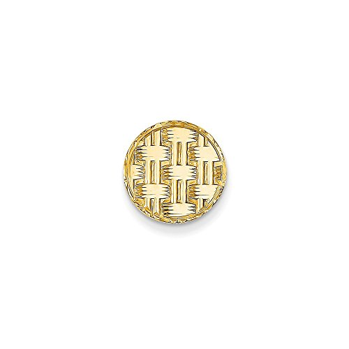 14K Yellow Gold Circular Tie Tac with Basketweave Design by CoutureJewelers