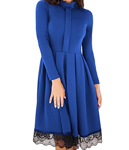 Fengguilai Women's Lace Hemline Detail Long Sleeve Skater Dress Fashion Dress Fe-LC61823-dress-Royal Blue-L