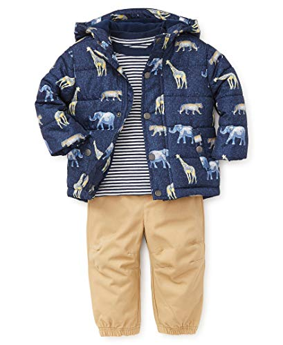 Little Me Boys' Toddler Jacket Set, Safari Printed Navy Blue Heather/Fall Sand, 2T