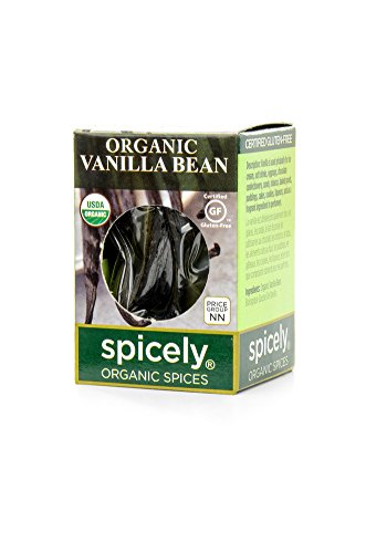 Spicely Organic Vanilla Bean Whole 1 count ecoBox Certified Gluten Free (Vanilla Bean Pods)