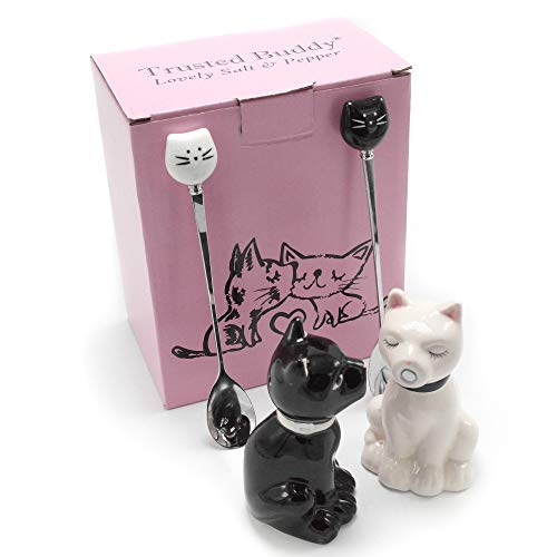 Love Kitty Cat Salt and Pepper Shaker Sets with Cute Stirring Spoons