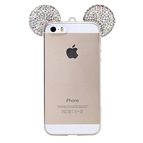 iPhone SE Case, MC Fashion Sparkle Cute 3D Mickey Mouse Bling Bling Crystal Rhinestone Ears Clear TPU Rubber Case with Removable Neck Strap for Apple iPhone 5/5S/SE (Bling Mickey Mouse)