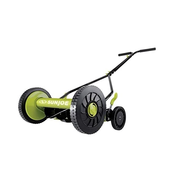 Sun Joe MJ503M 14-Inch Quad Wheel 9-Position Manual Reel Mower 1 ✅ REEL MOWER: Totally nature-friendly push reel mower - no electricity, no battery, no problem! ✅ ADJUSTABLE: 9-position height adjustment tailors grass cutting height from 1.1 to 2.9 inches ✅ RAZOREEL: 5 durable steel blades swiftly slice through grass for precise cutting