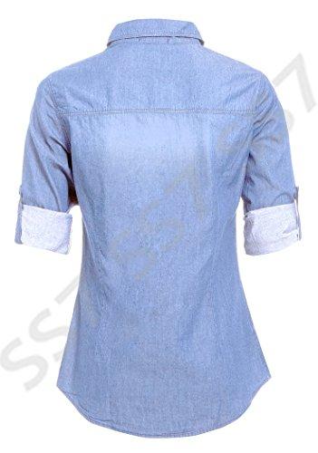 Bleu 14 SS7 Femmes Clair Chemise Jeans 8 Bleu Indigo Taille Nouvelles Jeans Clair Jeans En zCwHZza