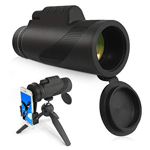 Monocular Telescope, 12X50 High Power Prism Monocular and Waterproof Fog-Proof Shockproof Scope with Phone Clip and Tripod- BAK4 FMC Prism for Bird Watching Hunting Camping Hiking Concert Sport