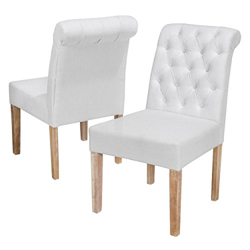 Best-selling Darla Tufted White Fabric Dining Chair with Roll Top, White, Set of 2