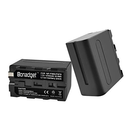 Bonadget 8700mAh NP-F970/F960 Replacement Battery(2 Pack) for Sony CCD-RV100 CCD-RV200 SC5 TR940 TR917 Camera CN-160 CN-216 CN-304 YN 300 VL600 LED Video Light as NP-F530 Camcorder