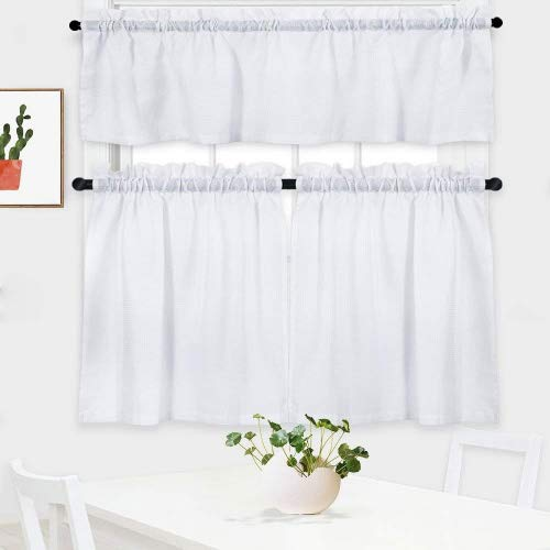 NANAN 3 Pieces Waffle Weave Textured Kitchen Tier Curtains and Valance Set for Bathroom,Water Repellent Tailored Short Cafe Curtains,White