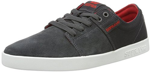 Supra Mens Stacks II Skate Shoe Dark Grey/Red White