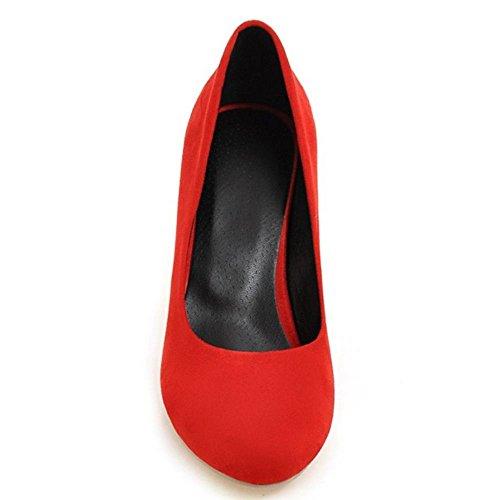 Zanpa Femmes Normal Chaussures Talons Hauts Escarpins 1#Red FolNHK