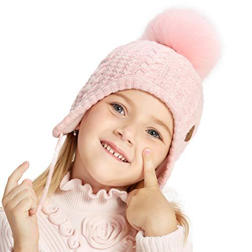SOMALER Toddler Kids Winter Ear Flap Beanie Hat Boy Girl Fur