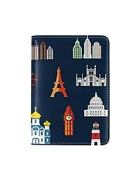 World Travel Landmarks Leather Passport Cover Travel Passport Holder Cover Case
