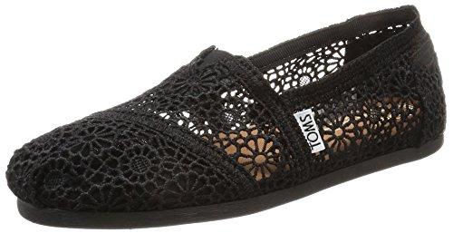 TOMS Women's Classic Slip-On Black Moroccan Crochet
