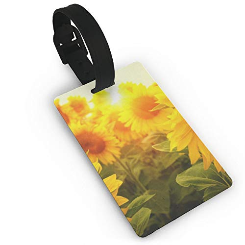 - Luggage Tags Travel ID Label Leather For Baggage Suitcase Sunflowers Flowers Business Card Holder