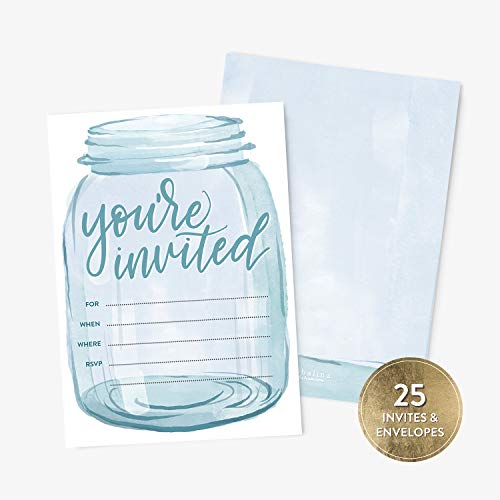 25 Mason Jar Watercolor Invitation and Envelopes, Perfect for Bridal Shower, Baby Shower, Wedding Rehearsal, Reception, Birthday Party, Anniversary Party, Housewarming Party, Fill-in Style Invitation