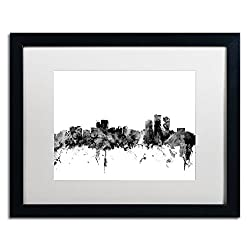 Anchorage Alaska Skyline B&w By Michael Tompsett, White Matte, Black Frame 16x20-inch