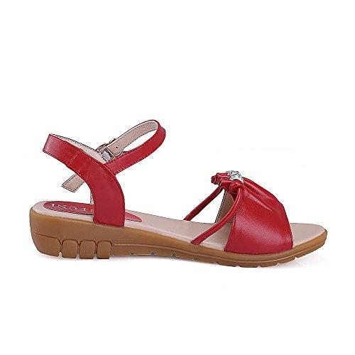 Amoonyfashion Vrouwen Solid Lage Hakken Gesp Open Teen Sandalen Met Metalen Ornament Rood