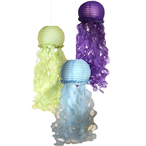 Mermaid 'Mermaid Wishes' Deluxe Jellyfish Paper Lanterns (3ct) ()