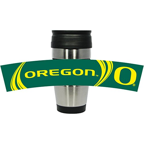 NCAA Oregon Ducks Stainless Steel Travel Tumbler with 3D Logo Wrap, 15-Ounce, Silver