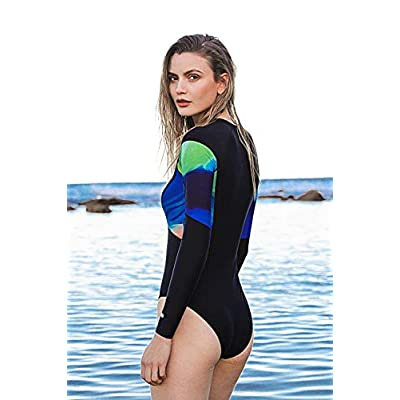 AXESEA Womens Long Sleeve Rash Guard UV UPF 50+ Sun Protection Printed Zipper Surfing One Piece Swimsuit Bathing Suit at Women's Clothing store