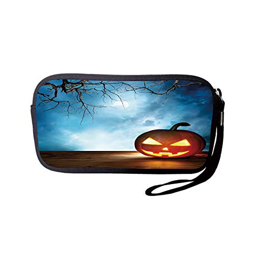 iPrint Neoprene Wristlet Wallet Bag,Coin Pouch,Halloween,Traditional Celebration Icon Pumpkin on Wooden Board Fantasy Midnight Sky Trees,Multicolor,for Women and Kids -