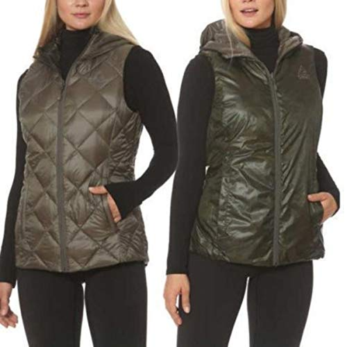 (Gerry Packable Reversible Down Vest (Small, Olive/Camo))
