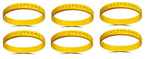 Livestrong Rubber Bracelets ((Lot of 6 for One Price) Official Live Strong Lance Armstrong Yellow Cancer Livestrong Rubber Wristband Bracelet Youth Size)