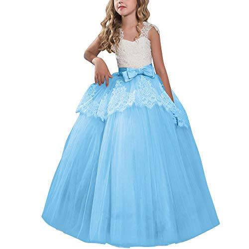 IBTOM CASTLE Flower Girl Eyelash Lace Tutu Dress Floor Length Princess Junior Bridesmaid Pageant Wedding Communion Evening Gowns Blue 6-7 Years -