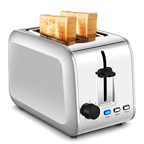 2-Slice Toaster, Stainless Steel Toasters with 7 Bread Shade Settings, Extra-Wide Slots and Removable Crumb Tray (Silver)