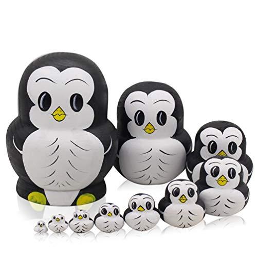 Moonmo 10pcs Animal Pattern Wooden Nesting Toys Russian Nesting Dolls Matryoshka Stacking Dolls (Penguin)