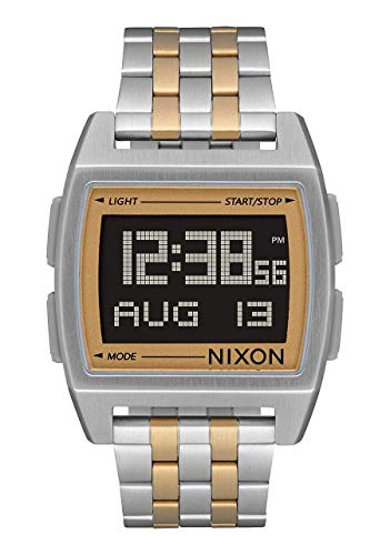 NIXON Base A1110 - Silver/Light Gold - 103M Water Resistant Men's Digital Fashion Watch (38 mm Watch Face, 23 Stainless Steel Band)