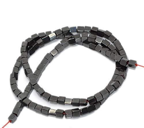 Perline cubiche sfuse in ematite cucito color canna di fucile per creazione di gioielli 3 x 4 mm circa 110 pezzi//filo lunghezza 40 cm artigianato confezione da 5 fili