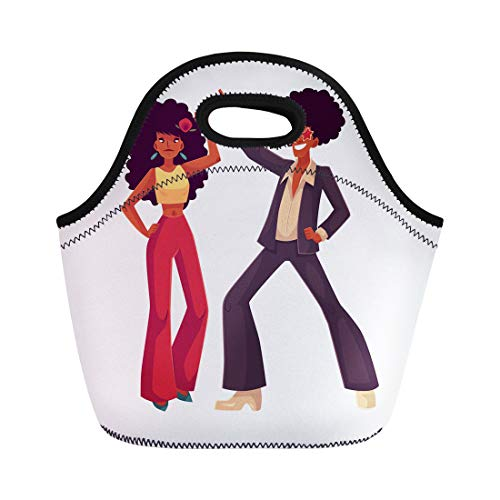 Semtomn Lunch Bags Man and Woman Afro Hair 1970S Dancing Disco Cartoon Neoprene Lunch Bag Lunchbox Tote Bag Portable Picnic Bag Cooler Bag ()