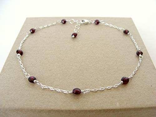 (Dainty genuine garnet sterling silver anklet, adjustable length 9.25-10.25 inches, summer style, handmade Let Loose Jewelry )