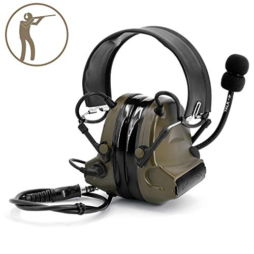 TOENNESEN Tactical Headset, Electronic Headphones with Microphone - Noise Reduction and Sound Pickup Safety Ear Muffs for PPT, Military Radio, Airport (Army Green)