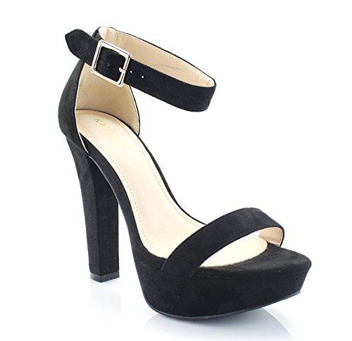 FOREVER VOGUE Women's Ankle Strap High Heel Platform Sandals, Black, 10 M US