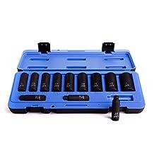 """JET Tools 610208 12 Pieces 3/8"""" DR DEEP S.A.E. IMPACT SOCKET SET - 6 POINT, JEU DE 12 DOUILLES PROFONDES S.A.E. À CHOCS À PRISE DE 3/8 PO – 6 PANS"""