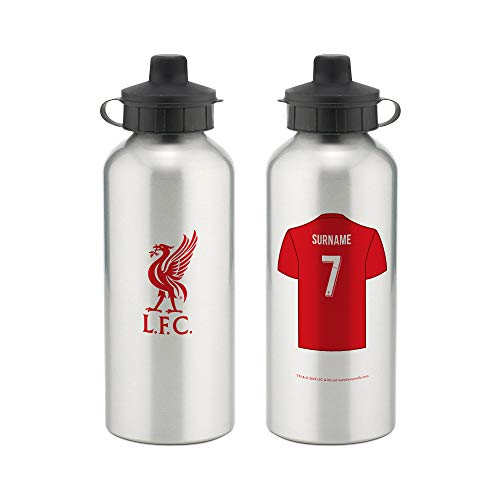 (Liverpool Official Personalized Aluminium Water Bottle with Spring Hook (600ml) - Silver - Free Personalization)