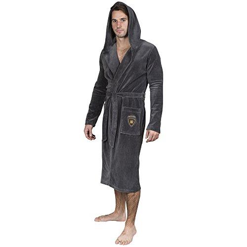 Yugo Sport Men's Plush Velour Bathrobe - Kimono Spa Hooded Robe (X-Small-Small, Charcoal - Sale Ll Day Bean Father's