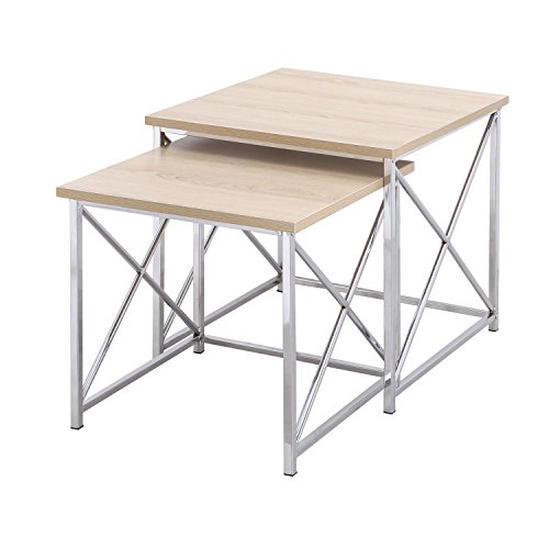 Homebeez 2 Pieces Square Nesting/End/Side Table Set with Wooden Style Top, Metal Legs 2 Pieces (Wooden) by Homebeez