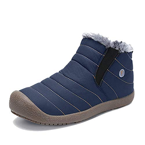 EXEBLUE Enly Winter Snow Boots Slip-on Water Resistant Booties for Men Women, Anti-Slip Lightweight Ankle Boots with Full Fur Navy Blue