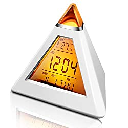 KOBWA 7 Color Changing Alarm Clock, Creative Triangle Multifunction Backlight LED Pyramid Thermometer Date Countdown Digital Music Clock, Battery Operated Wake Up Desk Clock for Kids Teens Adults