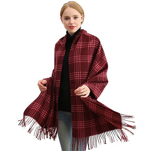(Longwu Women Soft Cashmere Wool Plaid Scarf Large Pashminas Shawl and Wrap Warm Stole Blanket-Wine Red)