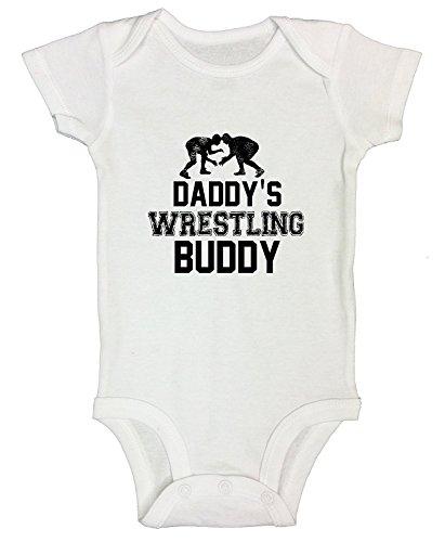 (Promini Cute Baby Onesie - Daddy Wrestling Buddy - Funny Bodysuits Baby Romper White)